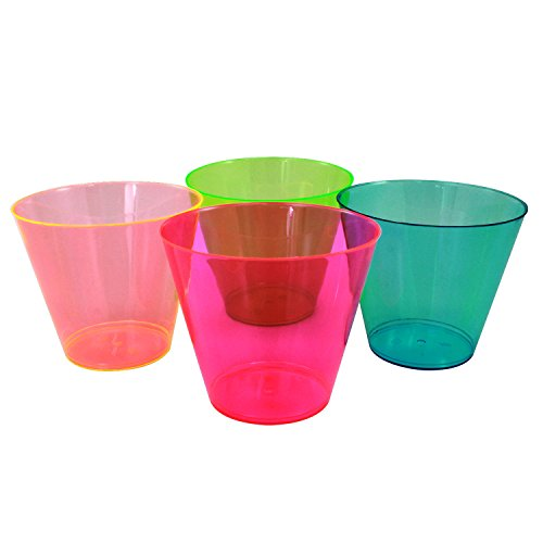 Enimay 9 oz. Tumbler Party Cups Old Fashioned Neon Assortment 25 Pack