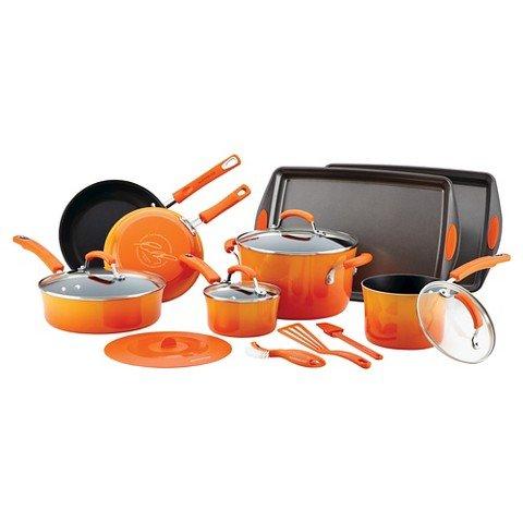 Rachael ray hard enamel nonstick 16 pc cookware set for Kitchen set orange