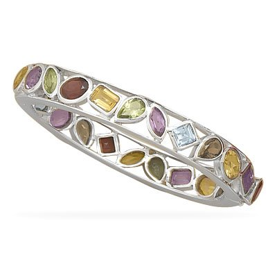 Multi Shape and Stone Hinged Bangle Bracelet