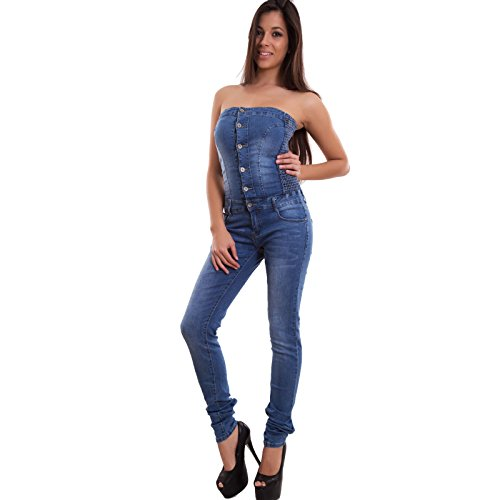 Toocool - Overall donna jeans tuta intera tutina skinny slim bandeau bottoni nuova H9031 [M,blu]
