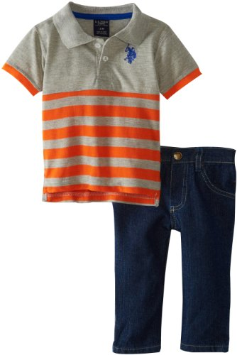 U.S. Polo Assn. Baby-Boys Infant Engineered Striped Polo With Five Pocket Denim Pant, Orange Popsicle, 24 Months