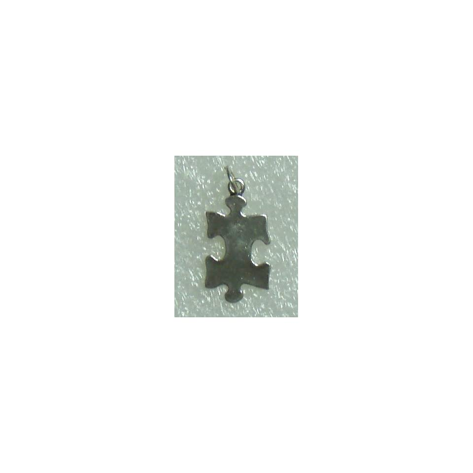 Autism Awareness Puzzle Piece Shape Silver Charm
