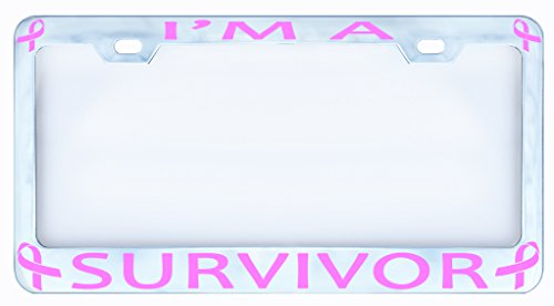I'm a Survivor Breast Cancer Pink Ribon Chrome License Plate Frame Tag, Metal,weatherproof Vinyl Cut Letters (Bmw M Sport License Plate Frame compare prices)