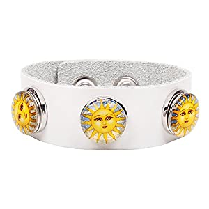 Modern Fantasy The Sun Goddess Smile Detachable Silver Button Creative Fashion Buckle Leather Wrap Bracelet (white)