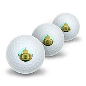 India Taj Mahal - Travel Novelty Golf Balls 3 Pack from Graphics and More