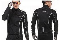 Winter Windproof Warm Fleece Cycling Jersey Bike Clothing Men Thicker Mountain Bicycle Jacket Men (Black, L)