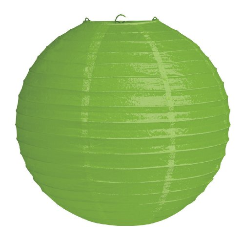 "Creative Converting 12"" Round Hanging Paper Lantern, Citrus Green - 1"