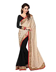 Sourbh Saree Attractive Beige And Black Lace Work Chiffon And Jacquard Half Half Saree For Women,Rakhi Return...