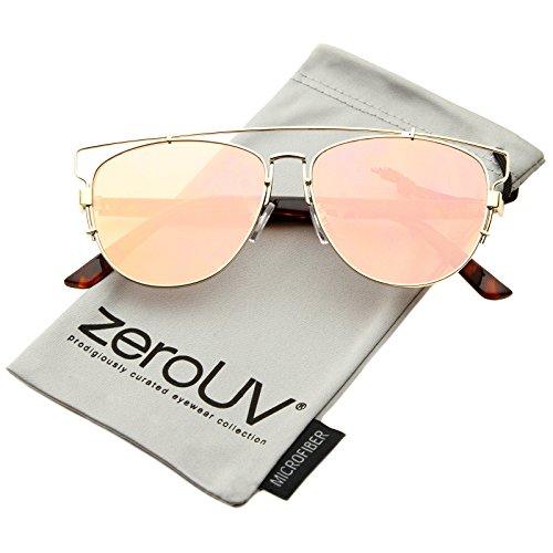 Image of zeroUV - Technologic Full Metal Crossbar Flash Mirror Flat Lens Aviator Sunglasses 54mm (Gold / Pink Mirror)