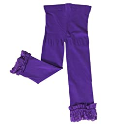 Wrapables Toddler Stretch Leggings with Lace Trim - Purple