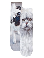 2 Pairs of Dog & Cat Print Socks