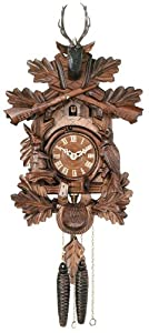 River City Clocks One Day Hunter's Cuckoo Clock with Hand-carved Oak Leaves, Animals, Crossed Rifles, and Buck - 16 Inches Tall - Model # 19-16 by River City Cuckoo Clock