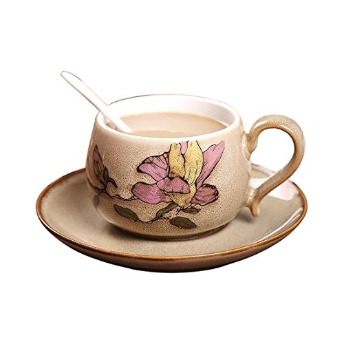 Coffee Cup Set,Hmane Hand Painted Porcelain Delicate Elegent Tea Coffee Cup Set with Saucer and Spoon - Birds