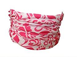 Multifunction Neckwarmer, Snood, Hat, Scarf and Hood in White with Pink hyacinth print by Monogram
