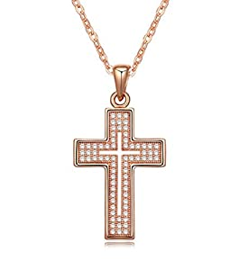Cross Necklace 18K Yellow / Rose Gold Plated with CZ Gemstones, Christmas Gifts for Women / Girls, Best Holy Religious Christian Pendant Fashion Jewelry Presents - by Elegant Value (Rose Gold)