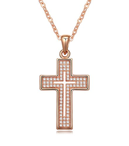 [Cross Necklace 18K Yellow / Rose Gold Plated with CZ Gemstones, Christmas Gifts for Women / Girls, Best Holy Religious Christian Pendant Fashion Jewelry Presents - by Elegant Value (Rose] (Cheap Disciple Costumes)