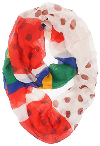 Vivian & Vincent Soft Light Weight Polka Dot Stripe Sheer Infinity Scarf (Red/White and Rainbow)