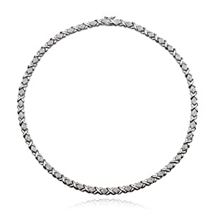 Platinum Plated Sterling Silver Genuine Diamond Accent Necklace, 18""