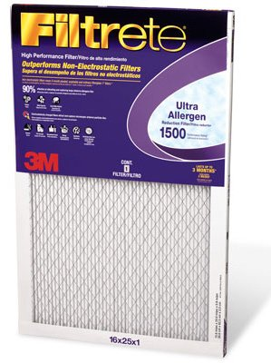 "3M Ultra Allergen Reduction Filter Ultimate 14 "" X 25 "" X 1 ""1500 Mpr Merv11 front-29604"