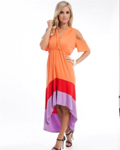 MOD Plus Women's Peep Color Block Plus Size Dress Orange 3xl(WPD508)