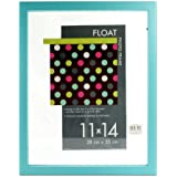 """Burnes Float Tabletop / Wall Hanging Photo Frame 11"""" x 14"""" - A Floating Effect Picture Frame: Turquoise"""