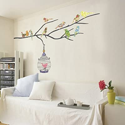Decowall 1510 Birds on Tree Branch with Bird Cages Kids Wall Stickers from DECOWALL