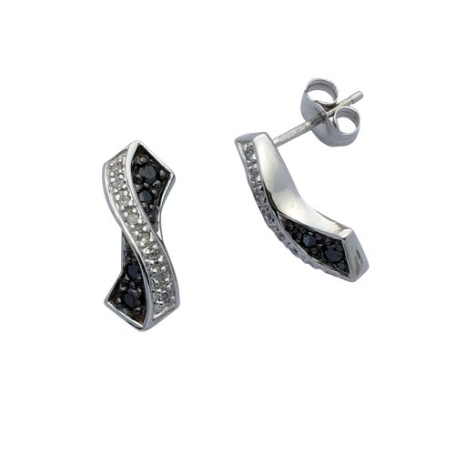 9ct White Gold Black  &  White Diamond Crossover Earrings 12Ts