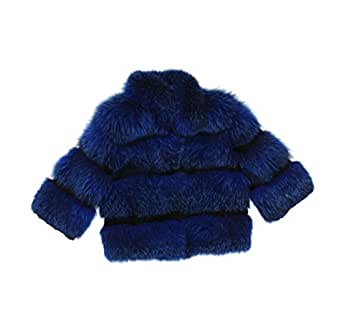 418607 New Blue Black Fox Rabbit Fur Bolero Jacket Coat