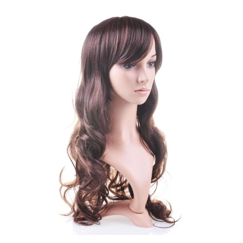 Taobaopit Beautiful Brown Curly Long Hair Wig