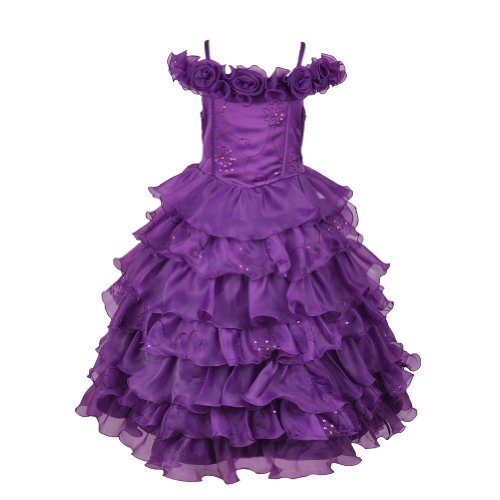 Plum Ballroom Ruffled Organza Princess Dress-Plum-8