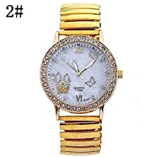 buy Running Watch Ladies Fashion Shells With Circular Steel Butterfly Spring Chinese Movement Watch(Assorted Colors)