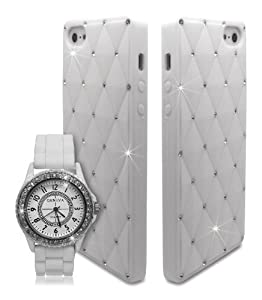 Bling Diamante Crystal Silicone Unisex Watch with Case for Apple iPhone 5 5S - White