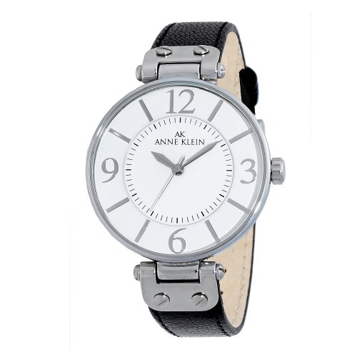 AK Anne Klein Women's 109169WTBK Silver-Tone Round black Leather Strap Watch
