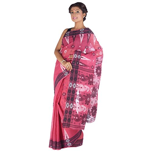Elife Elife Dark Pink Cotton Saree For Women (Multicolor)