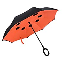 Double Layer Inverted Umbrella,Strong Waterproof/UV Protection Travel C Shape,Compact Travel Umbrella with Innovative Comfort Grip Handle (Orange)