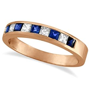 Princess-Cut Channel-Set Diamond and Sapphire Ring Band 14k Rose Gold