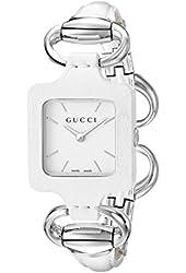 Gucci Women's YA130404 Gucci 1921 White Leather Bangle and Case Watch
