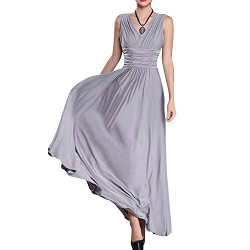 Preferhouse Women's Dress Plus Size Formal Evening Gown Long V-Neck Ruched 2X Grey