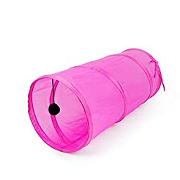 S_ssoy Pet Cat Toys Collapsible Funny Cat Tunnel Tunnel Cat Kitten Tubes (Rose)