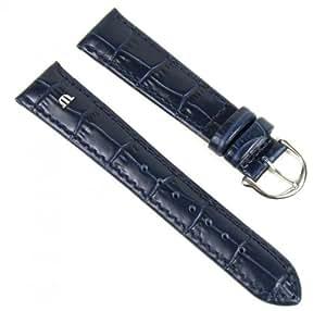 Original Maurice Lacroix Bracelet de Montre cuir Louisiana-crocodileoptik bleu foncé 19mm 293061950