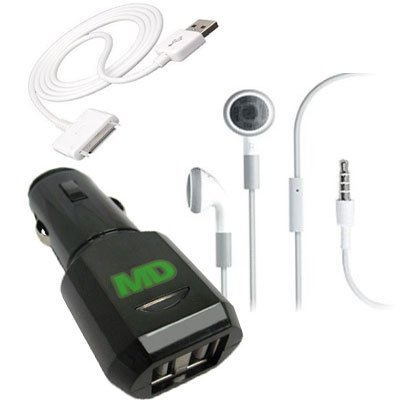 Malcom Distributors Black Dual Usb Port Socket Cigarette Lighter Dc Car Charger Adapter With Usb Dock Connector And Oem Apple Headset Apple Earphones With Remote And Mic For Apple Iphone 3G 3Gs 4.0 4V 4G Ipod Nano 4Th And 5Th Generation Ipod Classic 120Gb