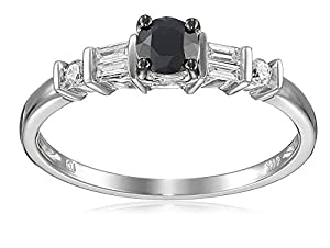 14k White Gold Black and White Parallel Baguette Diamond Engagement Ring (0.5 Cttw, G-H Color, I1-I2 Clarity), Size 7