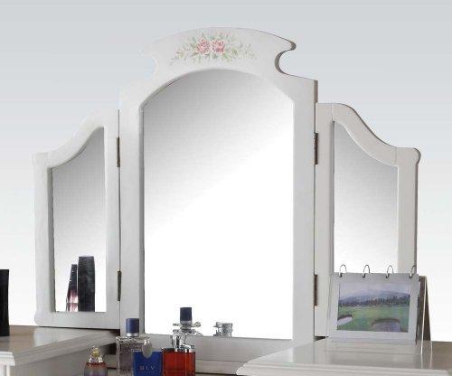 White Bedroom Vanity With Mirror front-67430
