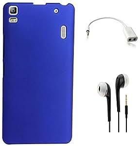 Tidel Blue Matte Finish Rubberised Slim Hard Case Back Cover For Lenovo K3 Note With 3.5MM HANDSFREE EARPHONE & AUDIO SPLITER