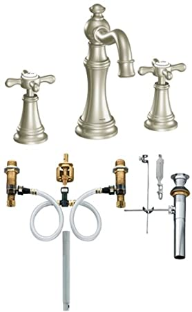 Moen TS42114BN-9000 Weymouth Two-Handle High Arc Bathroom Faucet with Valve, Brushed Nickel
