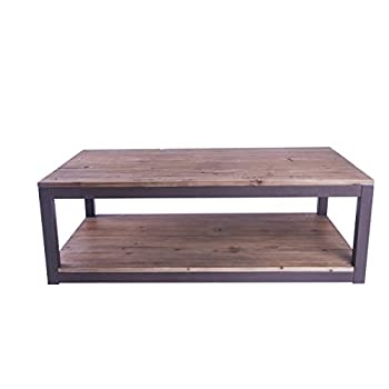 """Care Royal Rustic Vintage Industrial Solid Wood and Metal 43.3"""" Coffee Table Antique Cocktail Table with Storage Shelf for Living Room, Natural Reclaimed Wood, Sturdy Rustic Brown Metal Frame"""
