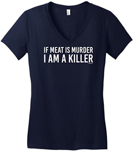 If Meat Is Murder I'M A Killer Funny Bbq Juniors V-Neck Large New Navy
