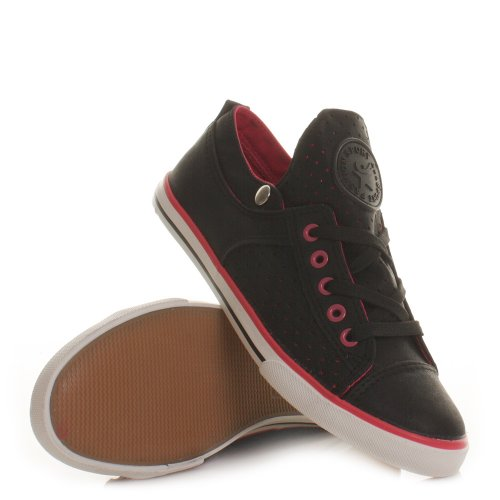 Womens Black Pink Casual Fashion Sports Trainers SIZE 3-8
