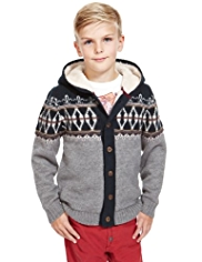 Hooded Fair Isle Fleece Lined Cardigan with Wool