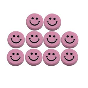 Round Plastic Smiling Face Refrigerator Magnets 30mm 10 Pcs Pink